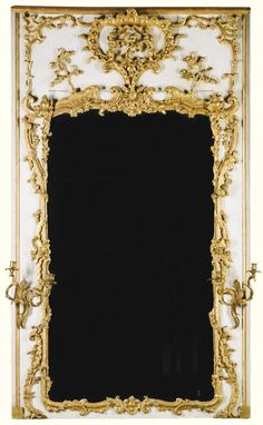 Louis XV painted and parcel-gilt trumeau mirror circa 1750