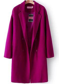 Red Long Sleeve Buttons Woolen Coat 58.33