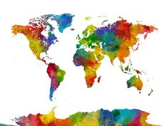 Map Of The World Map Watercolor Digital Art by Michael Tompsett