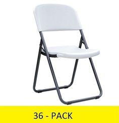 Lifetime Loop Leg Chairs - 880155 Contoured Folding Chair White Granite - 36 Pack