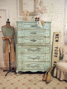 Vintage Painted Cottage Shabby Aqua Chic Dresser CH236. $495.00, via Etsy.