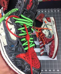 16dbb4b18060 Are these custom painted LV cartoon Off-White Nike Jordan 1 s 🔥 or are they