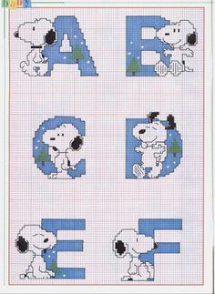 snoopy cross stitch pattern | Alfabeto com o Snoopy - Esquemas de Ponto de Cruz