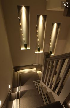 Browse a lot of photos of Stairway Lighting. Find ideas and inspiration for Stairway Lighting to add to your own home. Home Stairs Design, Home Room Design, Modern House Design, Home Interior Design, Interior Decorating, Stairs Light Design, Stairway Decorating, House Lighting Design, Interior Lighting Design