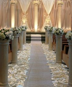 love the pillars and aisle decor , would love to add more flowers to the bottom. love the pillars and aisle decor , would love to add more flowers to the bottom. Wedding Pillars, Church Wedding Decorations, How To Make Light, Wedding Styles, Wedding Ideas, Wedding Signs, Wedding Table, Wedding Cakes, Wedding Events