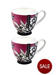 Zen Garden Pink Footed Mugs - Pink (set of 2)