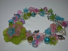 Lucite Flower Bracelet Silver Plated Pink by SuesLittleGems