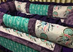 Dream Catcher and Arrows Baby Girl Crib Bedding featuring Dream Catchers, Teal and Purple