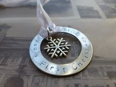 Custom hand stamped metal ornament, baby's first christmas, personalise, snowflake, silver - $11.50 on etsy