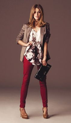 i would love to see you try something like this . doesn't have to be red pants . but something silky with a blazer?