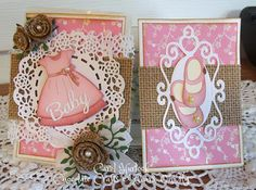 """Carol Hurlock: Chocolate, Crafts and Bears, Oh CottageCutz Baby Girl Pocket Card - 9/9/14 (Cottage Cutz dies: Fancy Dress, Fancy Mary Jane Shoes, Tea Time Doily/ 4"""")"""