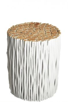 Rondin Stool.  Calypso St Barth's painted reclaimed wood sticks are gathered to create this unique side table. Occasional furniture with an outdoors aesthetic, but indoor use.