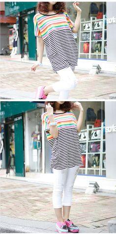 Rainbow Joint Stripe T-shirt Loose T-shirt Round Neck T-shirt Leisure T-shirt Plus Size Dress Plus Size T-Shirt Plus Size Clothing