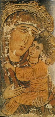 Богоматерь УМИЛЕНИЕ из церкви свв. Кирика и Иулиты в Лагурке, Сванетия 11 век
