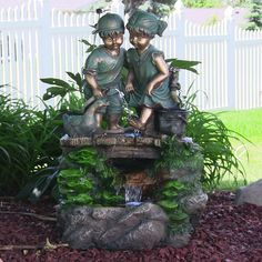 Outdoor Water Fountain with LED Light Children Discovering Nature Garden Decor #Sunnydaze