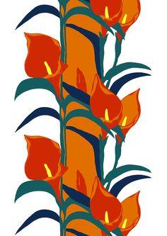 Liliana, orange by Marjatta Metsovaara Marimekko, Textile Artists, Colour Schemes, Vintage Patterns, Gd, Finland, Different Colors, Poppies, Cool Designs
