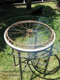 Wheel Chair Wheel Table - FromTheAlleyToTheGallery.blogspot.com