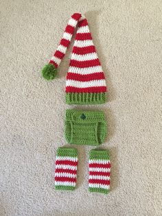 Crochet elf outfit long-tailed hat diaper by LittleGattsCrochet