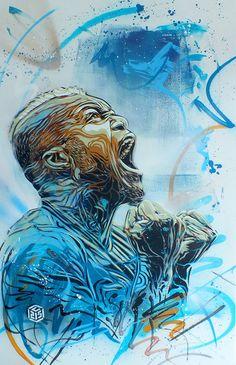 C215 - Portrait of Djibril Cissé by C215, via Flickr