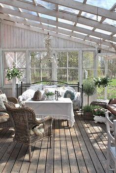 Cute Farmhouse Porch Design Decor Ideas - adolfo news Outdoor Rooms, Outdoor Living, Outdoor Decor, Outdoor Bedroom, Outdoor Plants, Indoor Outdoor, Shed With Porch, Gazebos, Sleeping Porch