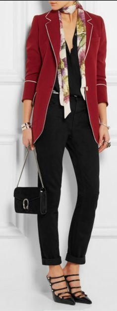 - Silk-trimmed wool-twill  - Floral-print silk scarf -  Dionysus suede shoulder bag DESIGNER : GUCCI - Carlton crepe shirt DESIGNER : ROW - Romny leather belt DESIGNER : Étoile Isabel Marant