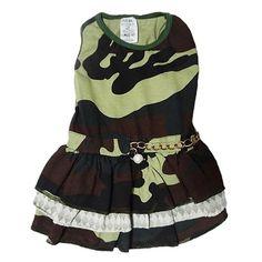 Vestido para Cachorro Camuflado Babadinhos Verde Dear Dog - MeuAmigoPet.com.br #petshop #cachorro #cão #meuamigopet