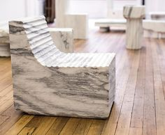 An exhibition of objects all cut from a single marble quarry in Vermont by Max Lamb. Courtesy Johnson Trading Gallery.