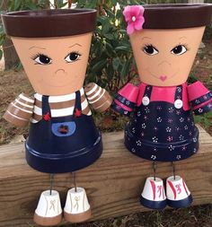 Clay Pot People, Flower Pot People, Clay Pot People Planters, Little Boy or Girl  Description--- This Garden Friends listing is for a Unique hand painted clay pot person made from terracotta pots. Boy or girl, you pick the colors, stripes, flowers, boy, girl, boy & girl. If you would like more than 1 click the appropriate quantity. Because they are delicate & because of their size we ship each 1 separately. When your person arrives you can put real or artificial plants, flowers in the...