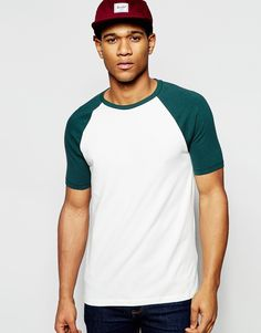 Image 1 ofASOS Muscle T-Shirt With Contrast Raglan Sleeves