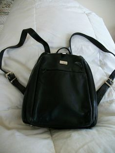 Black Leather Backpack Purse By Perlina