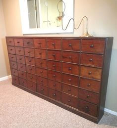 "Antique 19th Cent. Apothecary Chest Cabinet Mahogany Pine 44 drawer 76X41X9"" #American"