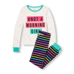 Girls Long Sleeve '#Not A Morning Girl' Graphic Top And Striped Pants PJ Set