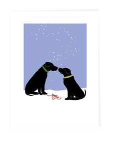 Holiday card black labs with simple gift in snow winter greeting card