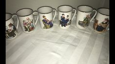 Vintage 1982 NORMAN ROCKWELL Coffee Cups Mugs Set Of 4 Museum Collection 1986  | eBay
