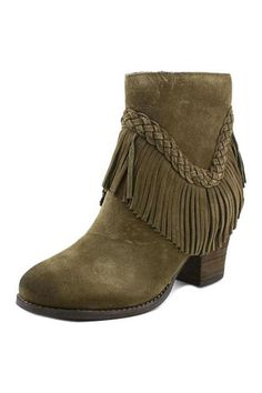 "Inspired by the popular style 'SOUND' the 'PATIENCE' Features draped braided fringe a stylish suede boot grounded by a chunky stacked heel. Side zip closure. Leather upper Man-made lining and sole.    Measurement: Leather 3 3/4"" heel. 5 3/4"" boot shaft.    Khaki Fringe Bootie by Sbicca vintage collection. Shoes - Booties - Heeled Oklahoma"