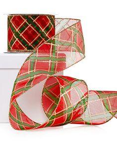 Holiday Lane Red & Green Plaid Ribbon Decoration - Christmas Decorations - Holiday Lane