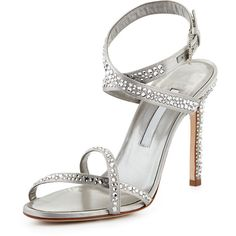 Manolo Blahnik Kolebibi Satin & Strass Evening Sandal ($1,160) ❤ liked on Polyvore featuring shoes, sandals, heels, silver, ankle tie sandals, ankle strap high heel sandals, manolo blahnik sandals, adjustable strap sandals and strappy high heel sandals