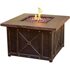 Hanover 40 in. Square Gas Fire Pit with Durastone Top, Golden Bronze