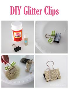 Fun for school!  DIY clipboard and glitter clips on iheartnaptime.com ...perfect for hanging up printables and quotes!