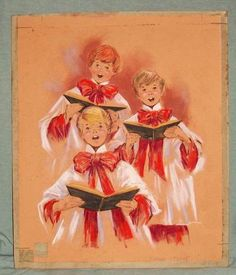 Vtg Original Art Pastel Deane Cate x mas Card Choirboy Artistic Greetings Elmira | eBay