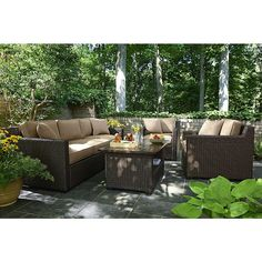 Agio International Moore Haven 4 Piece Woven Sofa Seating- Neutral - Outdoor Living - Patio Furniture - Casual Seating Sets