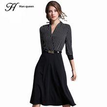 b20370f54c H Han Królowa 2017 Kobiety W Stylu Vintage 3 4 Rękawem Fashion Stripe  Patchwork Czarna