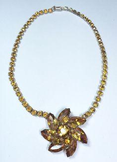 "Vintage Rhinestone Necklace, Golden Citrine, Marked Coro  14 ""  NR #Coro"