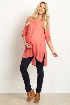 Coral-Button-Up-3/4-Sleeve-Top