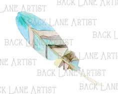 Bird Feather Watercolor Clipart Lineart by BackLaneArtist on Etsy
