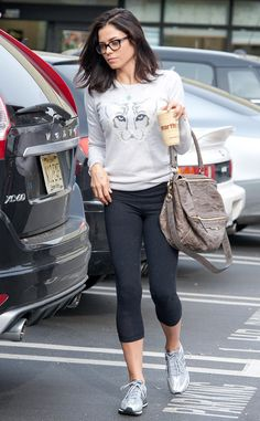 Jenna Dewan-Tatum looked casually adorable in cropped leggings, a tiger-print sweater and chunky black rectangular specs!