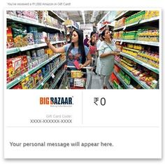 Big Bazaar Instant Voucher||  Big Bazaar Instant Voucher INR 250.00 View Details  6 of 6 people found the following review helpful   Aewsome product. I have used this by showing it ...   By  Tanmoy Naskar - See all my reviews  Verified Purchase(What is this?)  This review is from: Big Bazaar - Digital Voucher (Ecard Gift Certificate)  Aewsome product. I have used this by showing it to the checkout point in the bigbazar they copied a number from the coupon email and my payment was done. It…