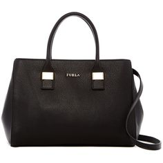 Furla Amelia Medium Leather Tote ($230) ❤ liked on Polyvore featuring bags, handbags, tote bags, onyx, handbags totes, leather handbags, leather zipper tote, tote purses and leather zip tote