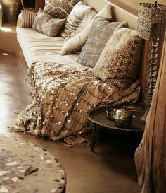 // cream and gold Arabian decor influence.