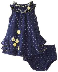 Petit Lem Baby-Girls Newborn Navy Chic Baby Floral Dot Dress, Navy/White Floral Dots, 3 Months Petit Lem